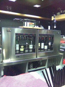 Shiny enomatic dispensers at The Wine Theatre