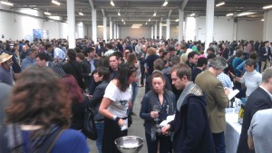 The crowds enjoying the wine tasting at RAW Fair
