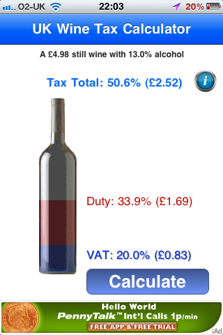 Screen capture of UK Wine Tax Calculator app