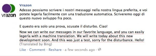 Translated Facebook Status Update Bing